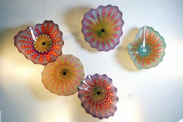 Livraison Gratuite Élégant Artistique Brillant Mur Décor Plaques En Verre Soufflé Mur Lumière Art Dôme Plafond Sculpture