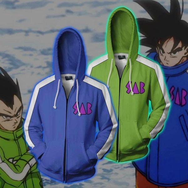 Wukong Saiyan Kakarotto Son Goku Sudaderas con capucha Chaqueta Cosplay Vegeta Zipper Sudaderas Moda hombres mujeres suéter