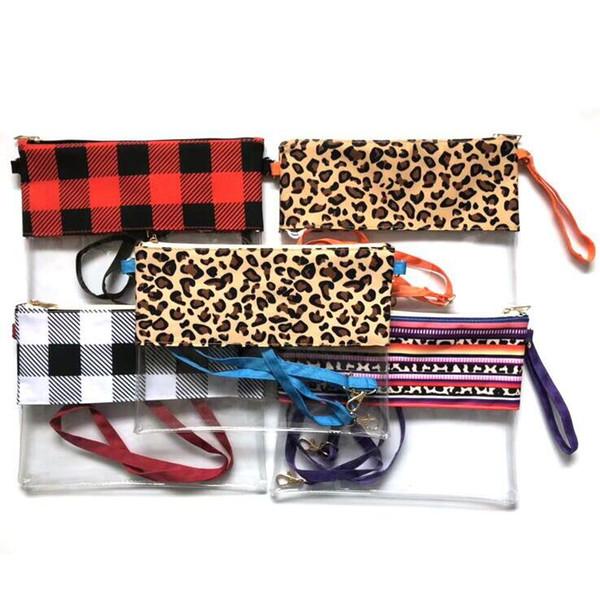 PVC Transparente Handtaschen Mode Frauen Umhängetaschen Wasserdichte Crossbody Umhängetasche Mädchen Leopard Handtasche CCA11002 60 stücke