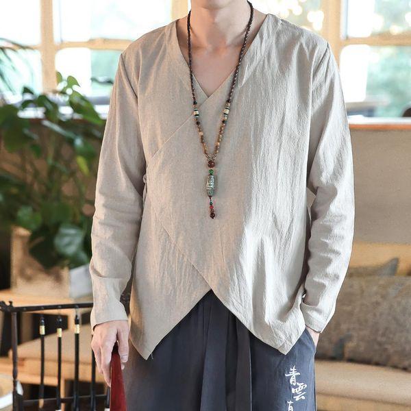 Tallas grandes M-5XL Hombres chinos de algodón Kung Fu Top Wu Shu uniforme Tai Chi Ropa Camisa de manga larga en camisas de estilo chino