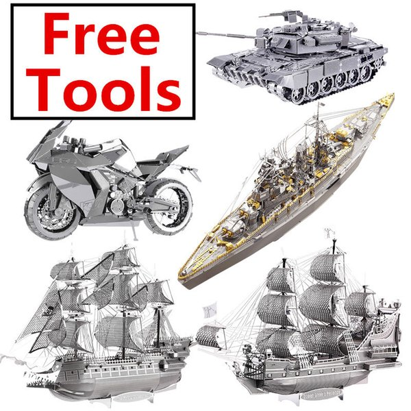 Mmz Piececool Battleship Tank Assemblée Militaire En Métal Kit Diy 3d Laser Cut Modèle Puzzle Jouets Cadeau Q190530