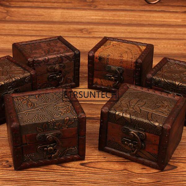 Venda quente por atacado Mini Caixa De Armazenamento De Madeira Caso Jóias Abotoaduras Peito Pequeno Presente Do Vintage Decoração 100 pcs