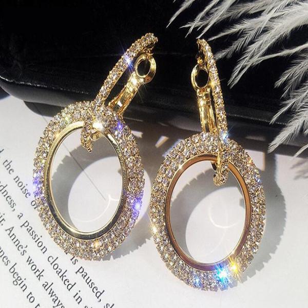 Neues design kreative schmuck hochwertige elegante kristall ohrringe geometrische runde gold ohrringe hochzeit für frau