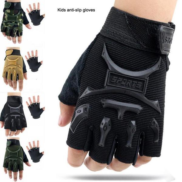 top popular Cycling fingerless gloves 5-13 Years Kids Army Tactical Fingerless Gloves Anti-Skid Half Finger Mitten Bike Children kids protector 2019