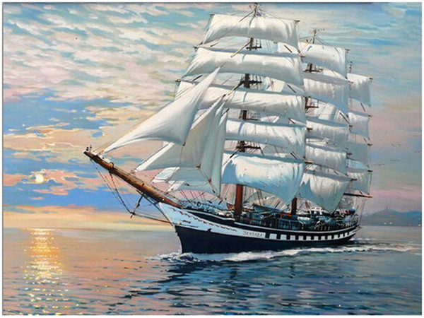 "top popular Oil Paint DIY Painting By Numbers Adult Hand Painted Kits Paint-White is smooth sailing 16""x20"" 2021"
