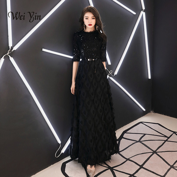 weiyin 2019 New Evening Dresses The Bride Elegant Banquet Black Half Sleeves Lace Floor-length Long Prom Party Gowns WY1342