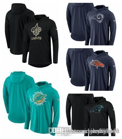 New Orleans Miami Los Angeles Denver Carolina Broncos Ram Dolphins Saints Panthers Blend Performance Hooded Long Sleeve T-Shirt