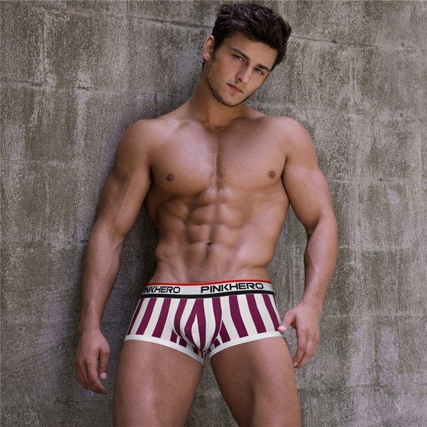Pink Hero Hot Boxers Sexy Striped Cotton Men Underwear Brand Cheap Underpants Boxer Shorts Panties C19041601