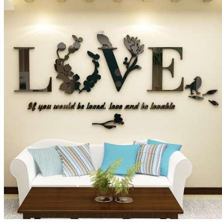 3D Folha AMOR Adesivos de Parede Lettering Art Quote Sticker Para Sala de estar Quarto Acrílico Mural Decalque Da Parede Removível Art Home Decor
