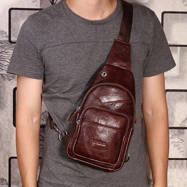 Men Oil Wax Genuine Leather Cowhide Fashion Travel Chest Pack Sling Back Pack Riding Cross Body Messenger Single Shoulder Bag