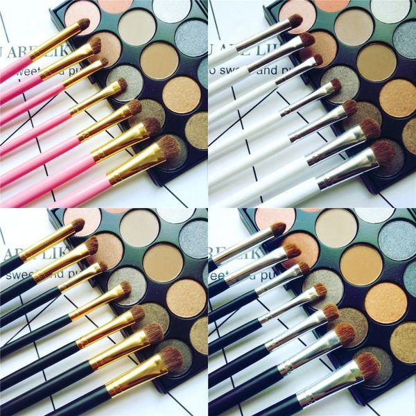 7pcs Eye shadow Makeup Brushes Set Natural Horse Pony Soft Hair Cosmetics Blending Smudge Shader Brush Beauty Kit