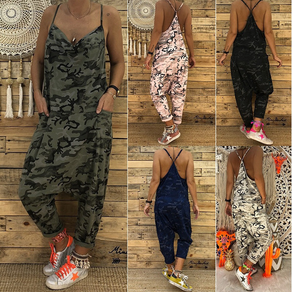 Fashion Women Jumpsuits 2019 Summer Strap Backless Long Jumpsuits Casual Loose Camouflage Printed Overalls Harem Cross Trousers j190723