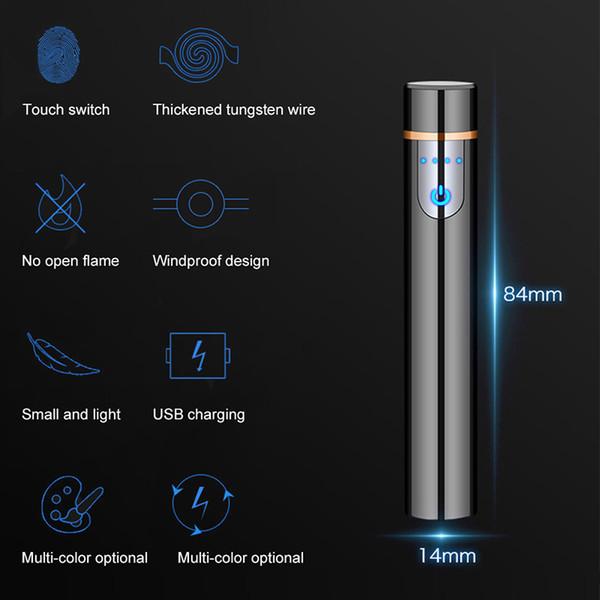 Сенсорный Индукционные Зажигалка Charge Usb Двустороннее точки детектор дыма Зажигалка ветрозащитный Гаджеты для мужчин