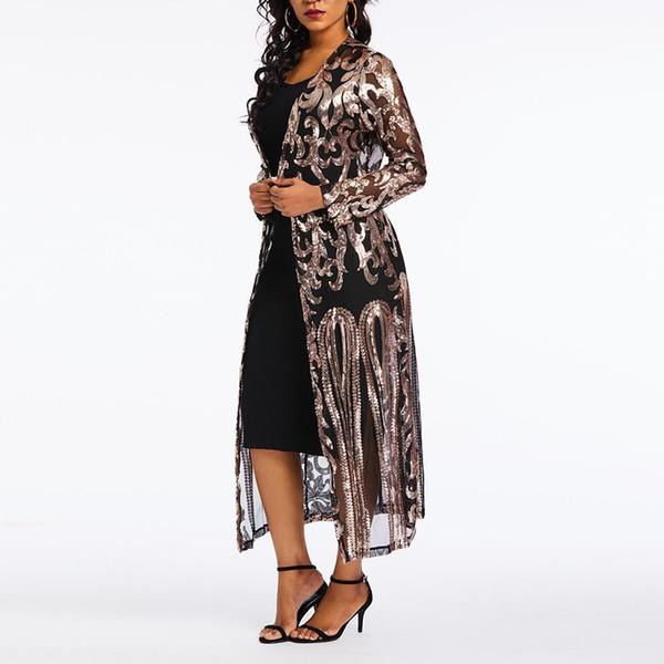 Blusas de las mujeres Casual Negro Boho Sexy Club Office Lady Slim Plus Tamaño Lentejuelas Malla Sólido Hueco Moda Femenina Tops Camisas de Verano