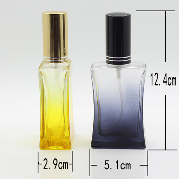 Wholesale Empty 50ml Glass Bottle With Spray Pump Refillable Spray Perfume Bottle With Black Gold Lid DHL Free