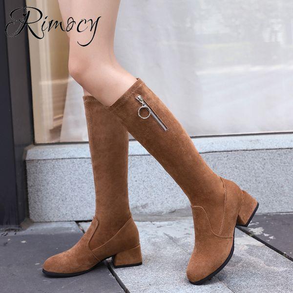 Rimocy Moda İnce Diz Yüksek Boots Kadınlar 2019 Sonbahar Kış Kare Topuk Uzun Çizme Bayan Kısa Peluş İçinde Sıcak Ayakkabı Kadın