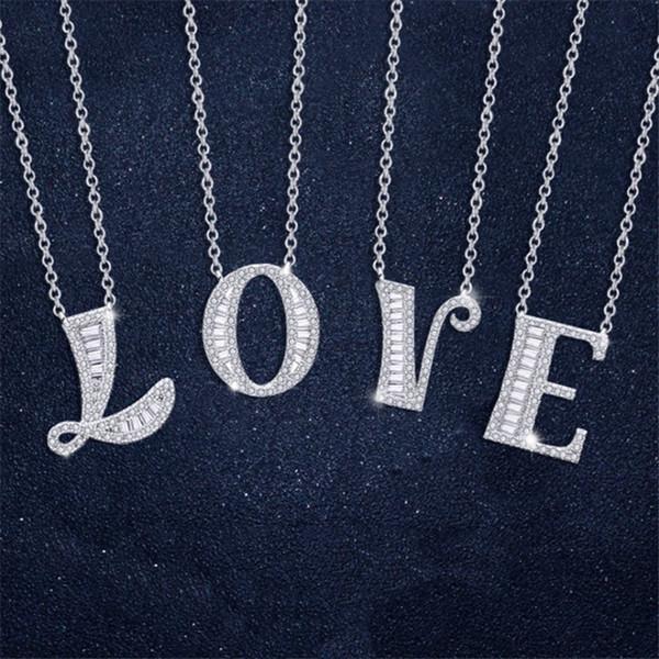 Мода ювелирные изделия 925 Щепка Customized English 26 Буквы алфавита ожерелья Pave Кубический циркон камни Женщины Choker Neckl