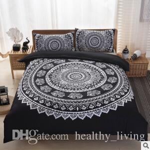 Conjuntos de ropa de cama de Bohemia Nuevos Luxury King Size Peacocks Elefante Juegos de cama impresos Funda de almohada con funda de almohada geométrica Conjuntos de almohadilla de almohada