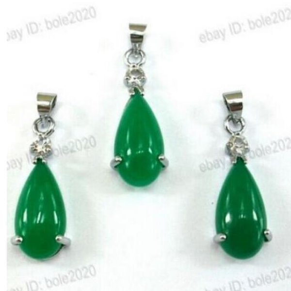 FREE SHIPPING+ Beautiful Green Tear Drop Dangle Gem Necklace Earring Jewelry Set