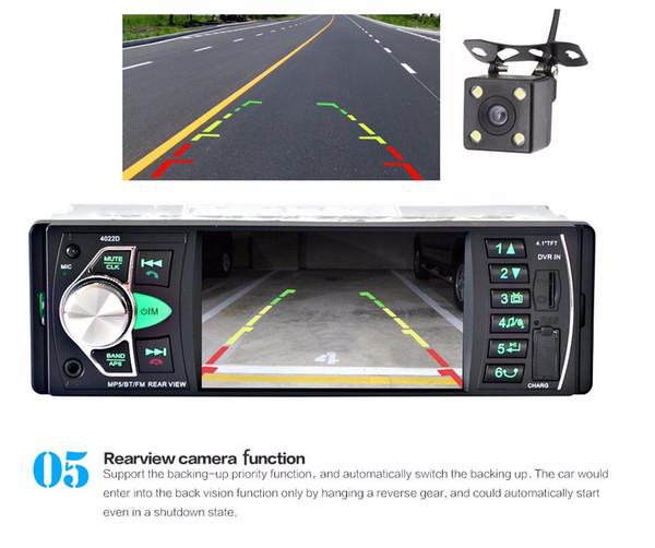 2018 4022d автомобильный радиоприемник Mp4-плеер с камерой заднего вида 4,1 дюйма Mp3 Mp5 Bluetooth Fm-передатчик стерео для аудио для музыки бесплатная доставка