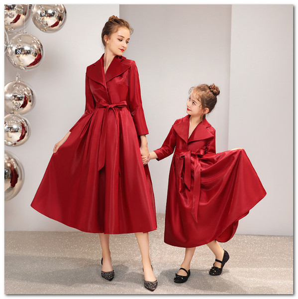 Mother and daughter matching outfits high quality girls lapel long sleeve Bows belt princess dress christmas women evening party dress J1212