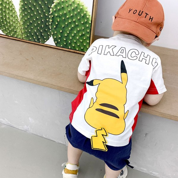 Children Cute Pikachu Print Pattern shirts Pants Kids Summer Short Sleeve T-Shirt Boys girls Top Short Baby Clothing Set