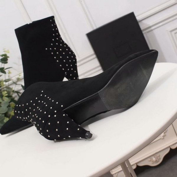 Nuevas mujeres del diseñador de cuero de gamuza negro punta puntiaguda tacones altos remaches botines marca damas tacones de 9 cm botas cortas zapatos de invierno 35-42