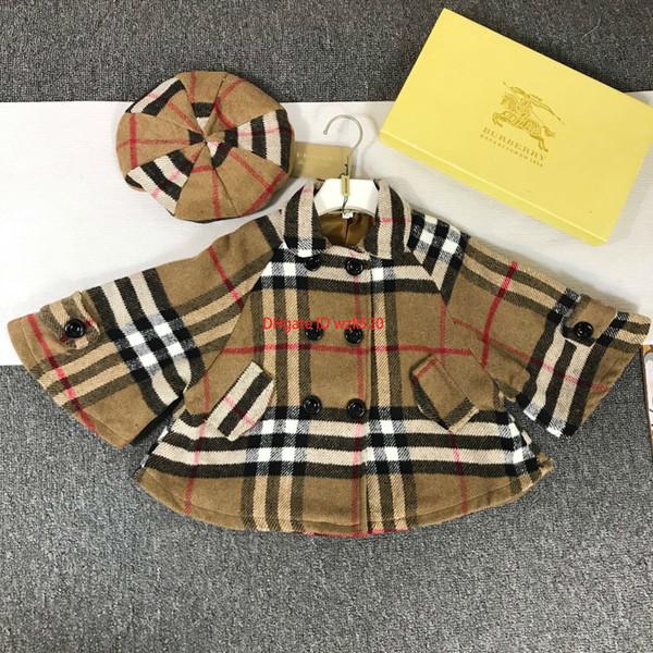 Les filles Choisit le style des vêtements griffés pour enfants 2019 modèles de manteau d'automne manteau Nizi + 2pcs chapeau classique mode motif écossais filles costume
