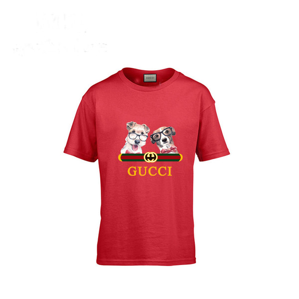New Pattern Cartoon Pure Cotton Children Dog Short Sleeve T T-shirt In Large Child Stripe Male Girl