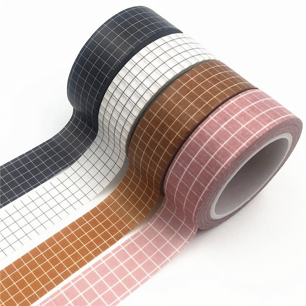 top popular 2019 10M Black and White Grid Washi Tape Japanese Paper DIY Planner Masking Tape Adhesive Tapes Stickers Decorative Stationery Tapes 2016 2019