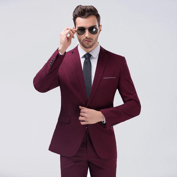 Novo Design Borgonha Mens Ternos De Casamento Do Noivo Smoking Slim Fit Duas Peças Groommen Evening Prom Formal Wear Melhor Homem Ternos (Jacket + calças)