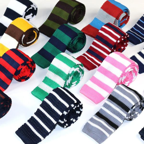 Herren Krawatten Polyester Strick-Krawatten für Männer Brand Fashion Striped Knitted Neck Tie für Party Business