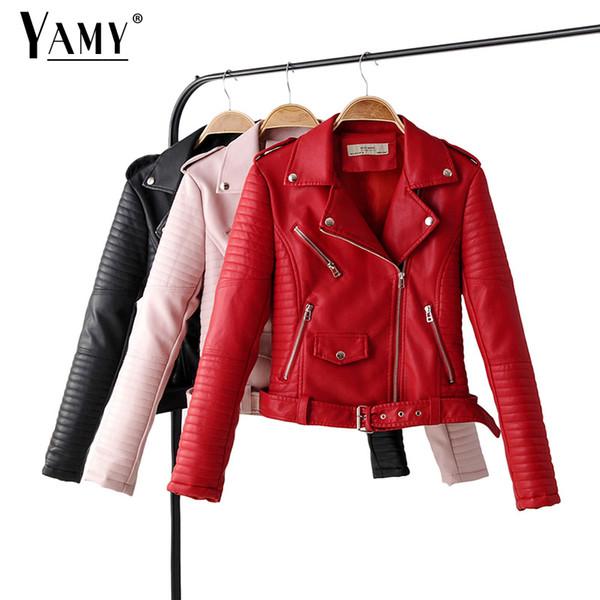 Красные женщины кожаной куртки с длинным рукавом молнией розового байкером курткой MODIS черного пальто Streetwear корейской женской одеждой падение 2019