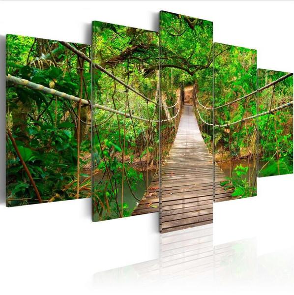 ( No Frame)5PCS/Set Modern Green Landscape Suspension Bridge Art Print Frameless Canvas Painting Wall Picture Home Decoration