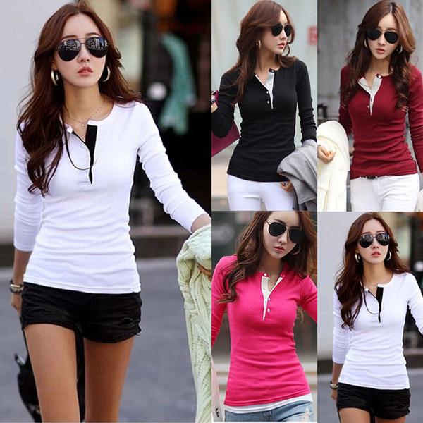 Kadın Kore Casual Tişört Bayanlar V Yaka Bodycon Top Uzun Kollu Bluz Tops