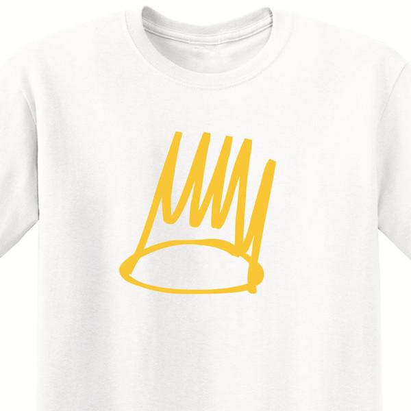 BORN SINNER - J. COLE MEN'S WHITE T-SHIRT WITH/GOLD PRINT - ALBUM ART Men's Clothing T-Shirts 2018 New Men tee
