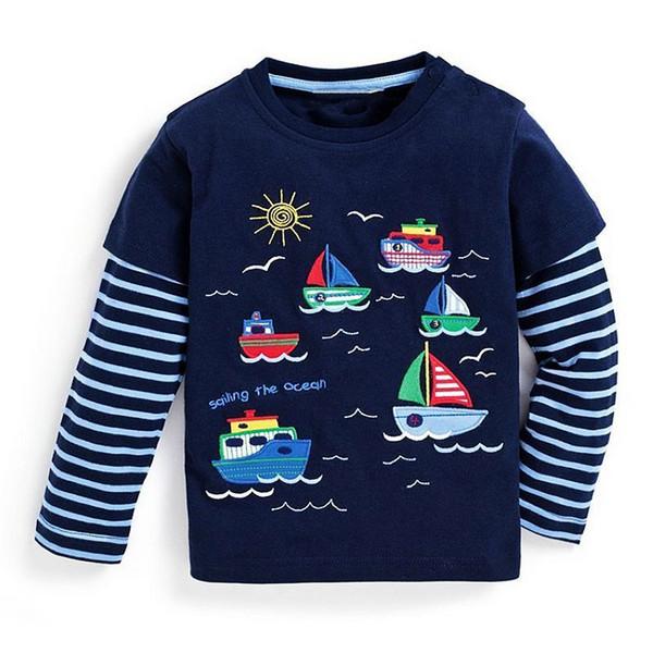 Crianças T-shirt Roupas de Meninos 2019 Marca Meninos Do Bebê Tops Tees com Animal Apliques Crianças Camisola de Manga Longa Meninos Camisetas