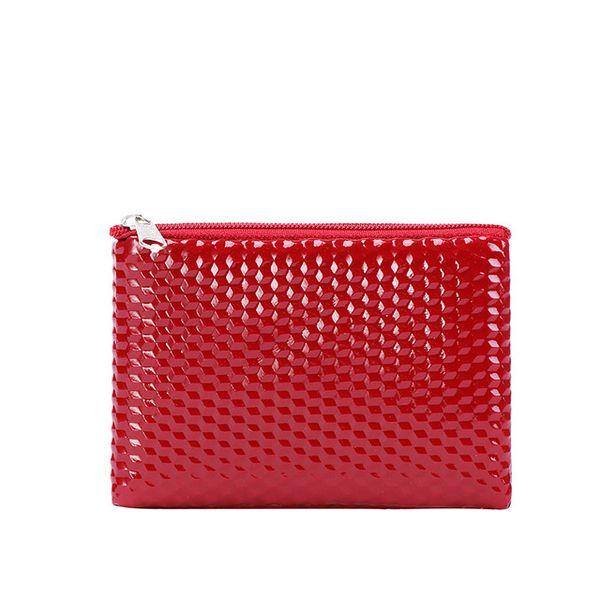 Korean version of the plaid coin purse woven zipper cute small wallet key bag headset lipstick storage mini bag