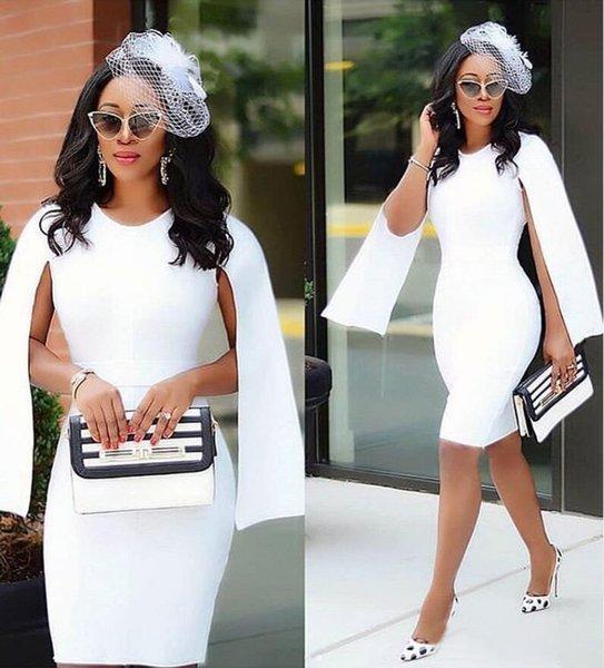 2019 Beyaz Diz Boyu Kılıf Kokteyl Elbiseleri Artı Boyutu Afrika Jewel Boyun Cap Sleeve Saten Kısa Balo Parti Abiye