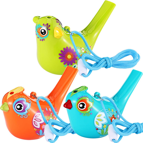 3 Pieces Bird Whistle Colorful Bird Water Whistle for Bath Toys Bath Bird Whistle for Kids Birthday Gift 3 Colors (Random Style)