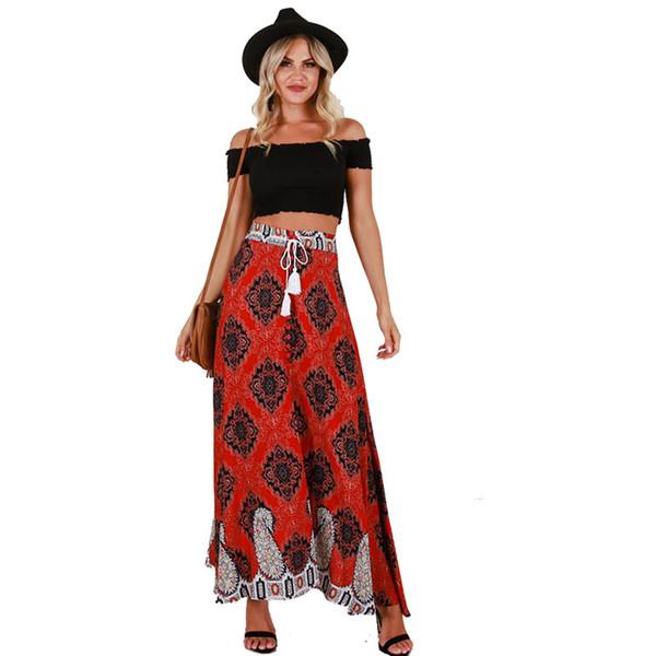 Compre Streetwear Falda Boho Bohemio Falda Imprimir Spodnice Damskie Vendaje Jupe Longue Femme Cintura Alta Faldas Largas Mujer Ropa A $34.53 Del