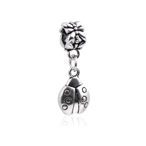 Komik Gümüş Kolye Fit Pandora Charms Bilezik Antik Alaşım Uğur Böceği Kazınmış Kolye DIY Kolye Böcek Takı Aksesuarları DZ77
