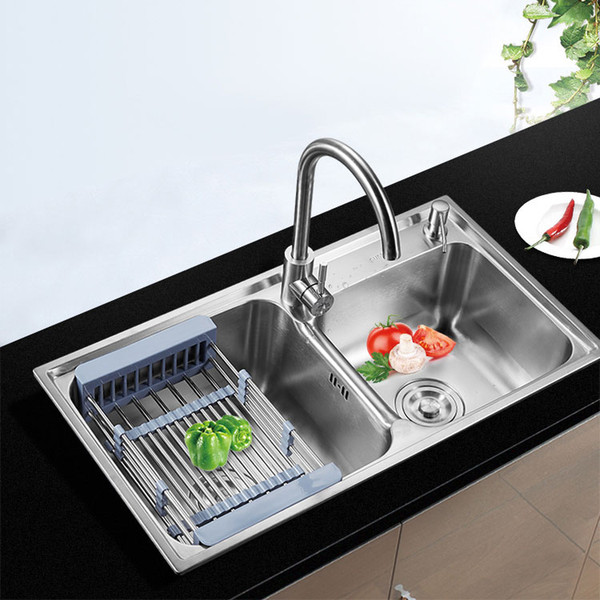 Middle Curved Design Multiple Sizes Stainless Steel Double Bowl Top mount Kitchen Sink