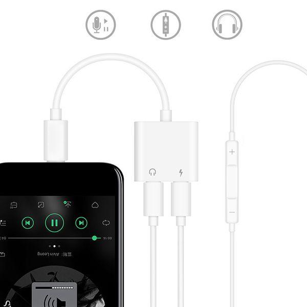 2 en 1 adaptateur audio casque écouteurs jack câble de charge auxiliaire avec paquet de vente au détail