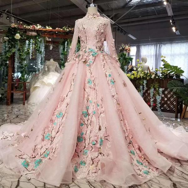 2019 последние мусульманские вечерние платья с длинным рукавом из тюля иллюзия высокой шеей зашнуровать назад ручной работы 3D аппликация роскошные блестки кружевные платья выпускного вечера