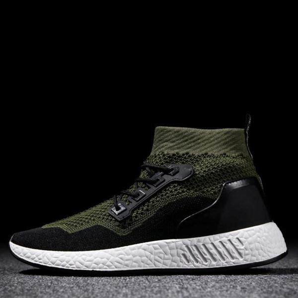 2019 Moda Preto Verde Clássico dos homens Sapatos Casuais Masculinos Voar Netting Linha Sapatos Flexíveis Dobráveis sapatos de Corpo Não-Slip Sola de Borracha