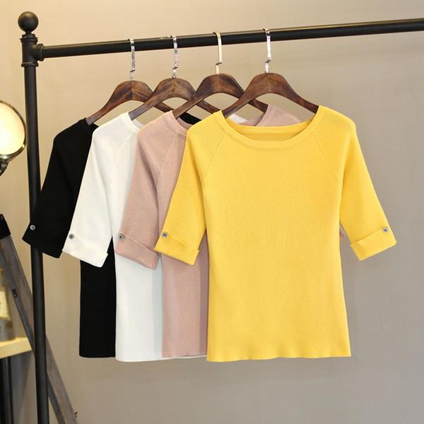 M-xxl Summer T Shirt Women Top Tee Hal Sleeve T-shirt With Button Decorate High Elastic Knitting Tshirt Femme Harajuku J190614