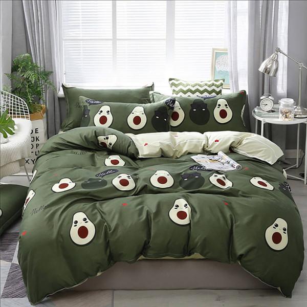 Avocat Literie Queen Size Mignon Creative High End Vert Housse de couette Roi double pleine simple couverture de lit confortable avec Taie
