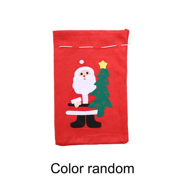 Noël Sac cadeau Applique non-tissé tissus Sac bonbons main Cartoon Père Noël bonhomme de neige d'arbre de Noël au hasard Livrer