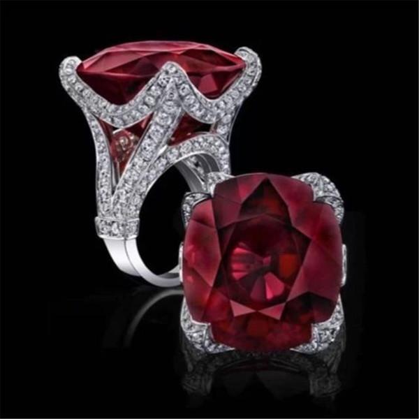 Элегантный Милый Серебряный Большой Красный Кристалл Кольца Для Женщин Обручальные Свадебные Моды Кубического Циркония Женщины Пара Кольца O5c231